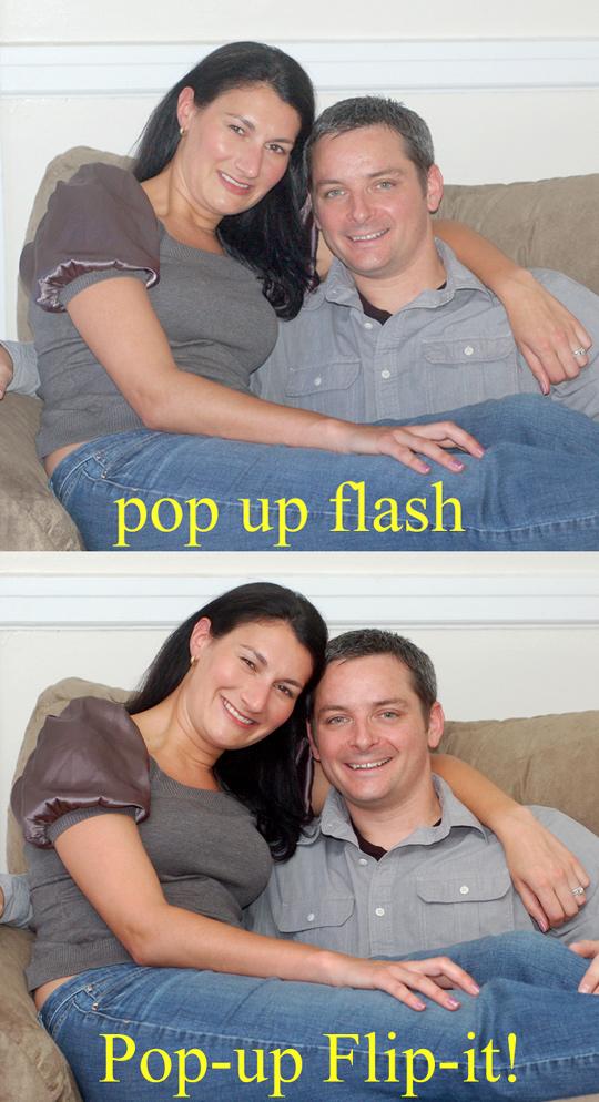 Comparison between pop up flash and Pop-up Flip-it