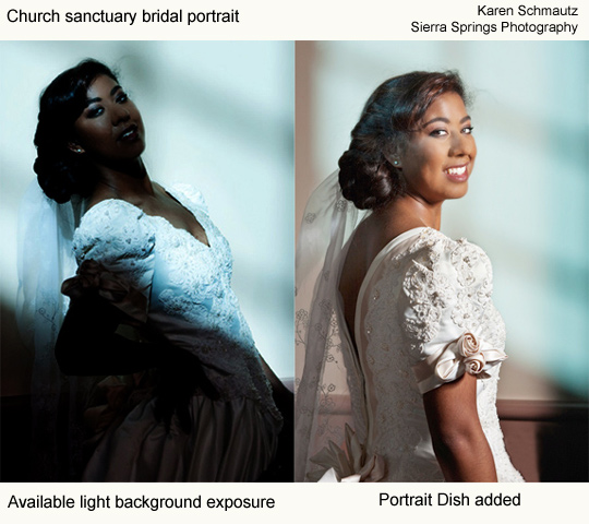 Church sanctuary bridal portrait - Karen Schmautz, Sierra Springs Photography