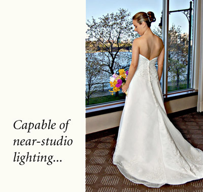 Near-studio lighting with Flip-it! - Bride in front of window
