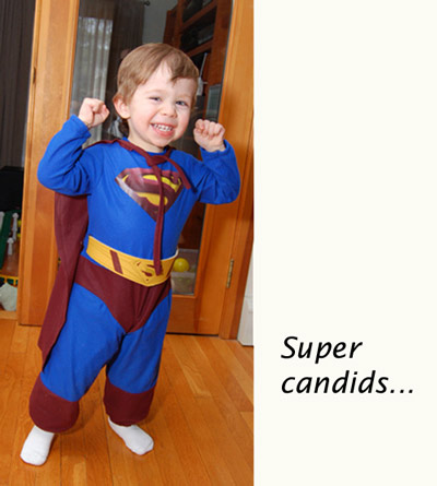 Super candids with Flip-it! - Young boy in superman costume