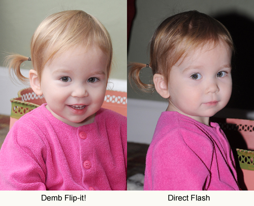 Image of toddler showing the difference between the Demb Flip-it! and Direct Flash