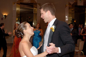 Diffuser Example: Bride and groom dancing close-up