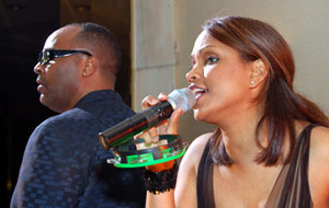 Diffuser Example: Woman at the microphone