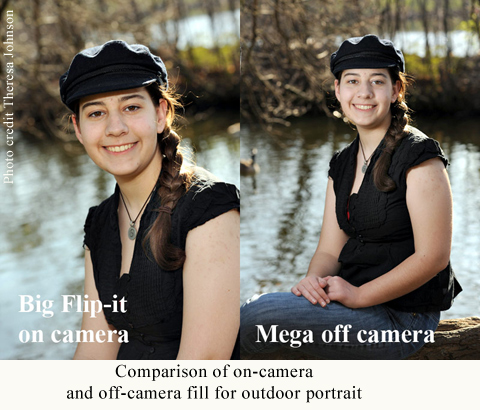 Comparison of Mega Flip-it! on-camera and off-camera fill for outdoor portrait