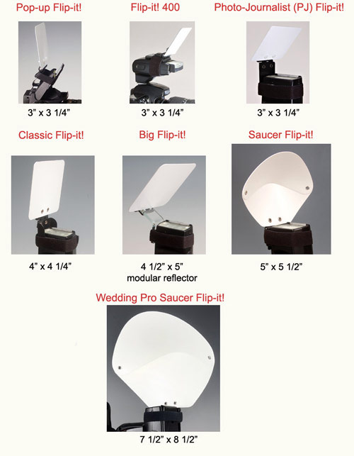 Six Flip-it! flash reflector models: Pop-up, Photojournalist, Classic, Big, Saucer and Mega sizes