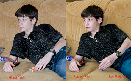 Boy on sofa - comparison with and without Pop-up Flip-it!