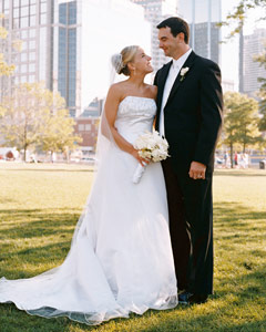Bride and groom photographed with outdoor fill
